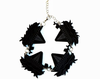 Plexiglass Jewelry, Laser cut jewelry,  Boat Bracelet, Black Acrylic Bracelet, Plexiglass Bracelet, Sea Bracelet, Plastic Bracelet
