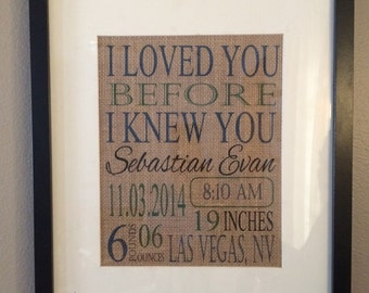 Personalized Birth Stats Burlap Print- Nursery/Child's Bedroom Burlap Sign