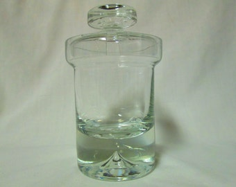 Beautiful Mid Century Modern Jelly Condiment Jar with lid and spoon opening