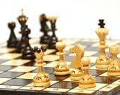 Wooden chess set, chess board and pieces, carved chess board and fired pieces, wooden chess game, chess board and pieces