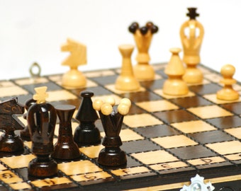 Wooden chess set, small chess board and pieces, hand carved board and pieces, wooden chess pieces, wooden chess board, wooden chess game