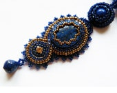 SAFAIA - embroidered pendant necklace with lapis lazuli, hematite, toho seeds and rhinestone chain