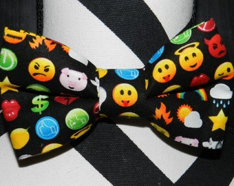 Emoji Bow Tie. Black Emoji adjustable strap bow tie or velcro bow tie. Hairbow option available