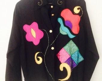 90s Vintage Patchwork Shirt  // Embroidery Patchwork Shirt  Blouse /Flower patchwork Design / Large