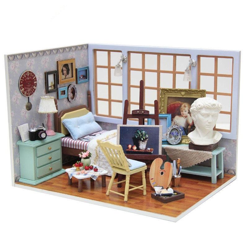 DIY Artist Room Painting Studio Dollhouse Miniature Kit