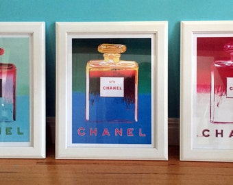 Set of 3 Chanel Vintage Print Perfume Poster Warhol Timber Framed Prints or Posters
