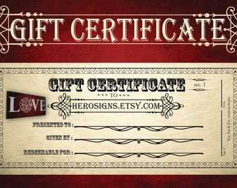 Gift Certificate - Hero Signs