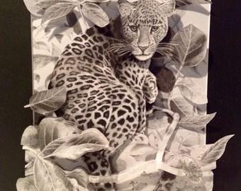 3D Paper-Cut of Leopard in Jungle