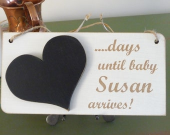 Personalised Baby Countdown Sign, Custom Countdown to Baby Sign, Days Until Sign, Wooden Baby Shower Plaque, Pregnancy Gift