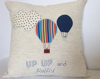Nursery pillow cover, Appliqued Pillow,Hot Air Balloon pillow,Accent pillow,Nursery Room Decor Pillow Cover, off white cotton canvas