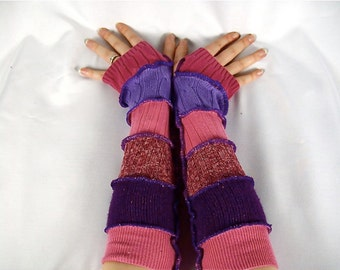 Custom Made To Order, Upcycled Clothing, Katwise Armwarmers, Boho Chic, Patchwork Fingerless Gloves, Hippie Accesories, Recycled Sweaters