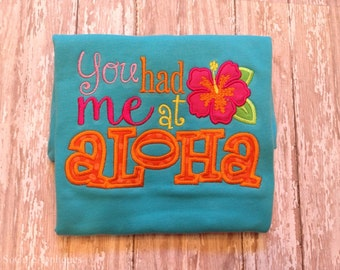 Embroidery design 5x7 You had me at Aloha, embroidery saying, socuteappliques, summer, hibiscus, beach embroidery, flower, hawaii