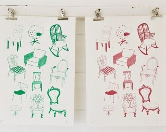 Limited edition chair screen print A4