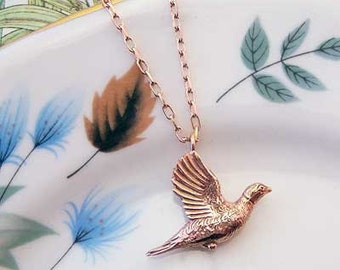 Rose Gold Pheasant Necklace, rose gold necklace, bird jewellery, Uk maker