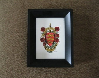 Original watercolor painting of a crest shield for England