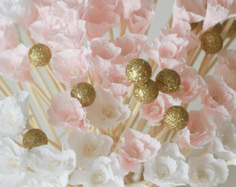 Pale pink wedding peony swizzle sticks, drink stirrers,  bridal shower, baby shower, white and gold, pink and gold, baptism, white party