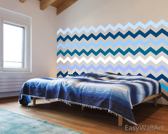 1 Chevron Wall Decal for Living-room, Bedroom, Nursery, Playroom, Kindergarten & Chevrons Wall Pattern Stickers#P67
