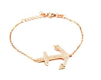 Anchor Bracelet 14k Pink Gold over Sterling Silver