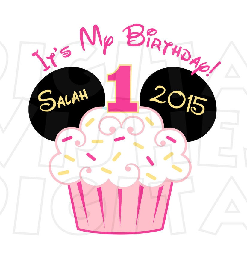 Minnie Mouse 1st Birthday: Baby Minnie Mouse Cupcake 1st Birthday Image PERSONALIZED Name