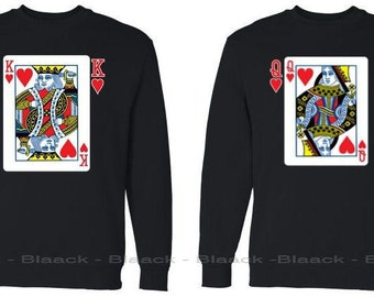 Couple Sweatshirt - King & Queen Playing Cards Design  - Matching Couple Sweaters