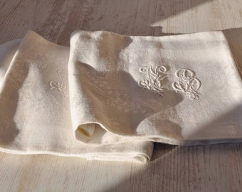 Antique French Linen Hand Embroidered Monogram/Damask Linen