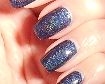 Northeast - dark blue linear holographic nail polish