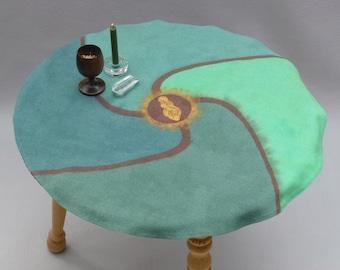 Goddess Altar Cloth, Gaia, Luna, or Red Tent, round silk