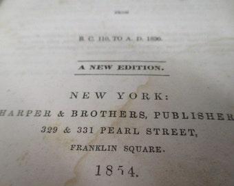 antique 1854 book,  Switzerland History, hard bound vtg book, old paper ephemera, Indiana Library book, 1800's antique book, primitive decor