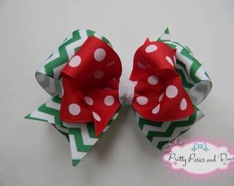 Christmas Hair Bow, Christmas Bow, Red and Green Chevron and Polka Dot Christmas Holiday Hair Bow