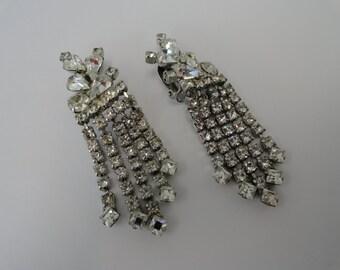 Vintage Large Silver Rhinestone Earrings Hollywood Vintage Costume Jewelry Rhinestone Earrings Vintage Clip Earrings Wedding Jewelry