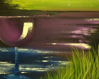 Wine Tonight? - 24x18 Oil on Canvas Original Painting, Wine art, Kitchen Art, Beach Art, Bar Art, Ocean art, Drinking Art.