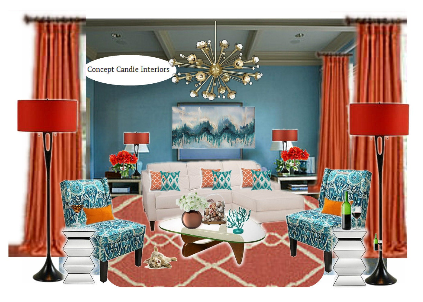orange and teal living room decor. Black Bedroom Furniture Sets. Home Design Ideas