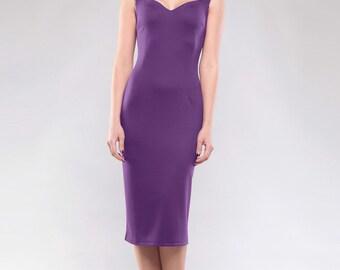 Purple dress. Spring dress. Jersey dress. Party dress. Classic dress. Office dress. Elegant dress. Occasion dress. Evening dress,Knee dress.