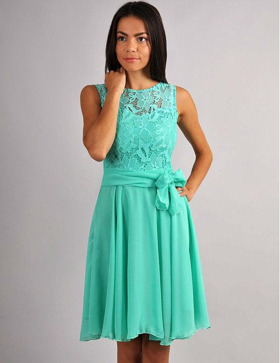 Bridesmaid mint color dress knee mint dress cocktail dress for Mint color wedding dress