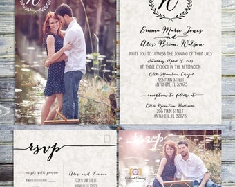 Monogram Wedding Invitation Bundle, Printable Photo Wedding Invitation And RSVP Postcard, Rustic Shabby Wedding, Monogram Wedding Invitation