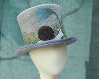 Snail Top Hat - Gray Top Hat - Snail Hat - Men's Top Hat - Ladies Top Hat - Top Hat - Hand Felted Hat