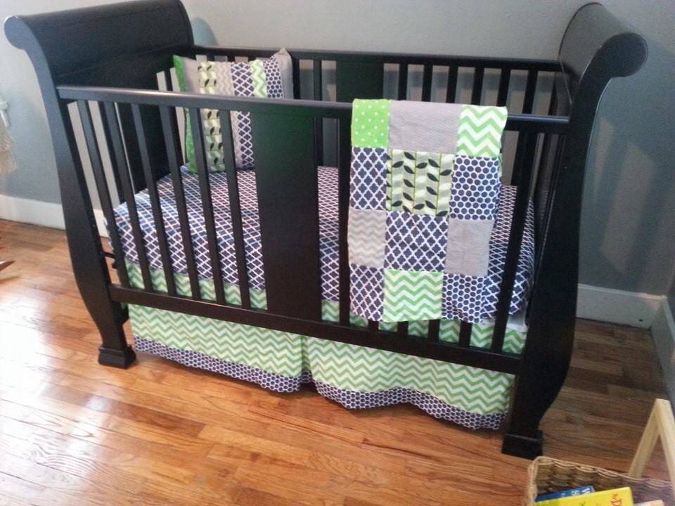 Crib Bedding Set Navy Blue And Lime Green Crib Skirt Fitted