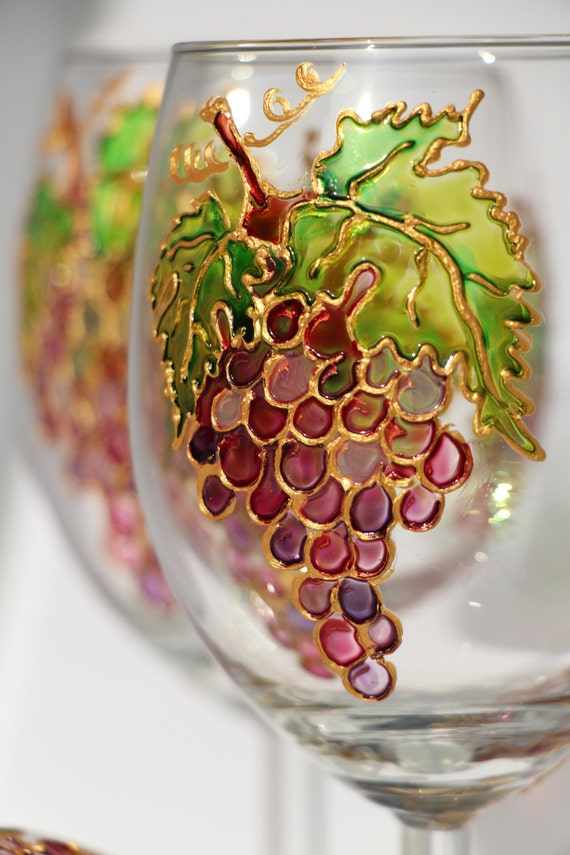 Hand Painted Wine Glasses With Grapes Motif Set Of 4