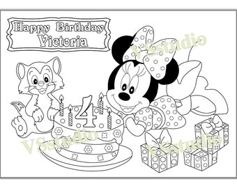 personalized minni mouse birthday party printable coloring pages activity pdf file