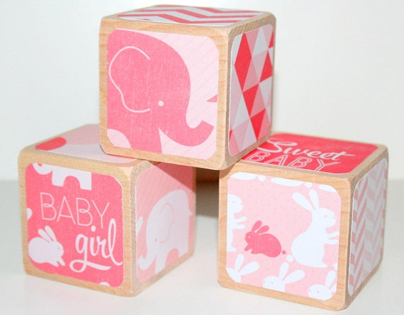 Children's Wooden Baby Blocks Pink Nursery Baby Girl