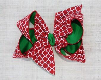 Hair Bow, Girls Hair Bow, Boutique Hair Bow, Cute Hair Bow, Hairbows, Large Bow, Christmas Bow, Quatrefoil Print, Large Bow