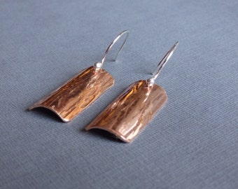Hammered Copper Earrings - Bark Texture With Sterling Silver Earwires