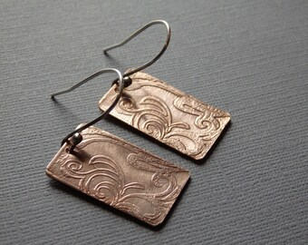 Etched Copper and Sterling Silver Earrings - Garden Design