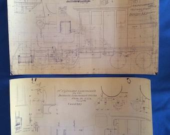 Set of 6 locomotive design drawings for Baldwin Locomotives of Philadelphia, PA - early photocopies