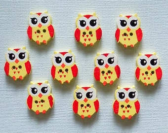 10 Wooden Owl Buttons -  #SB-00093