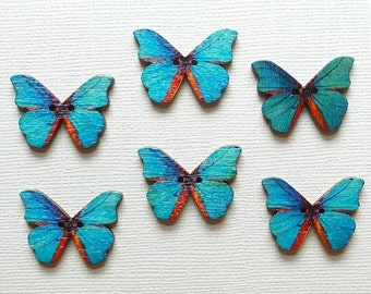 6 Wooden Butterfly Buttons - #BF-00031