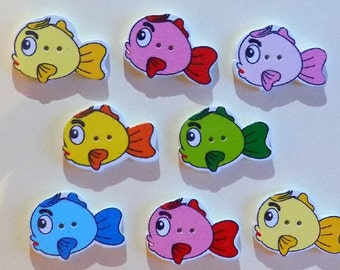 8 Multicolor Wooden Fish Buttons - #SB-00072