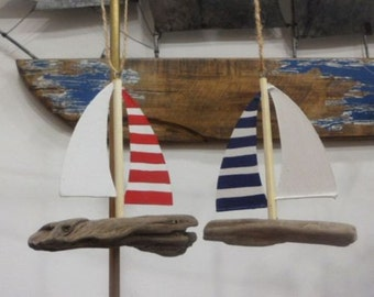 Small Rustic Sailboat in Driftwood - Seaside Decorative Hanger.