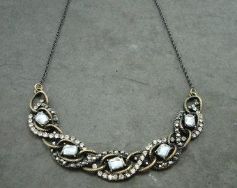Rhinestone crystal necklace antique brass, crystal pendant, gunmetal chain