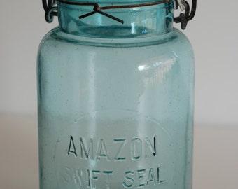Antique, Vintage, Blue, Quart, Mason, Amazon Swift Seal, Canning Jar, Zinc Lid, Genuine